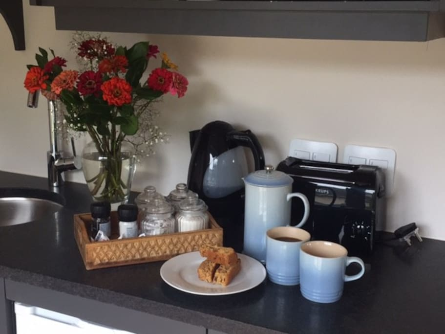 Kitchenette with home-style rusks