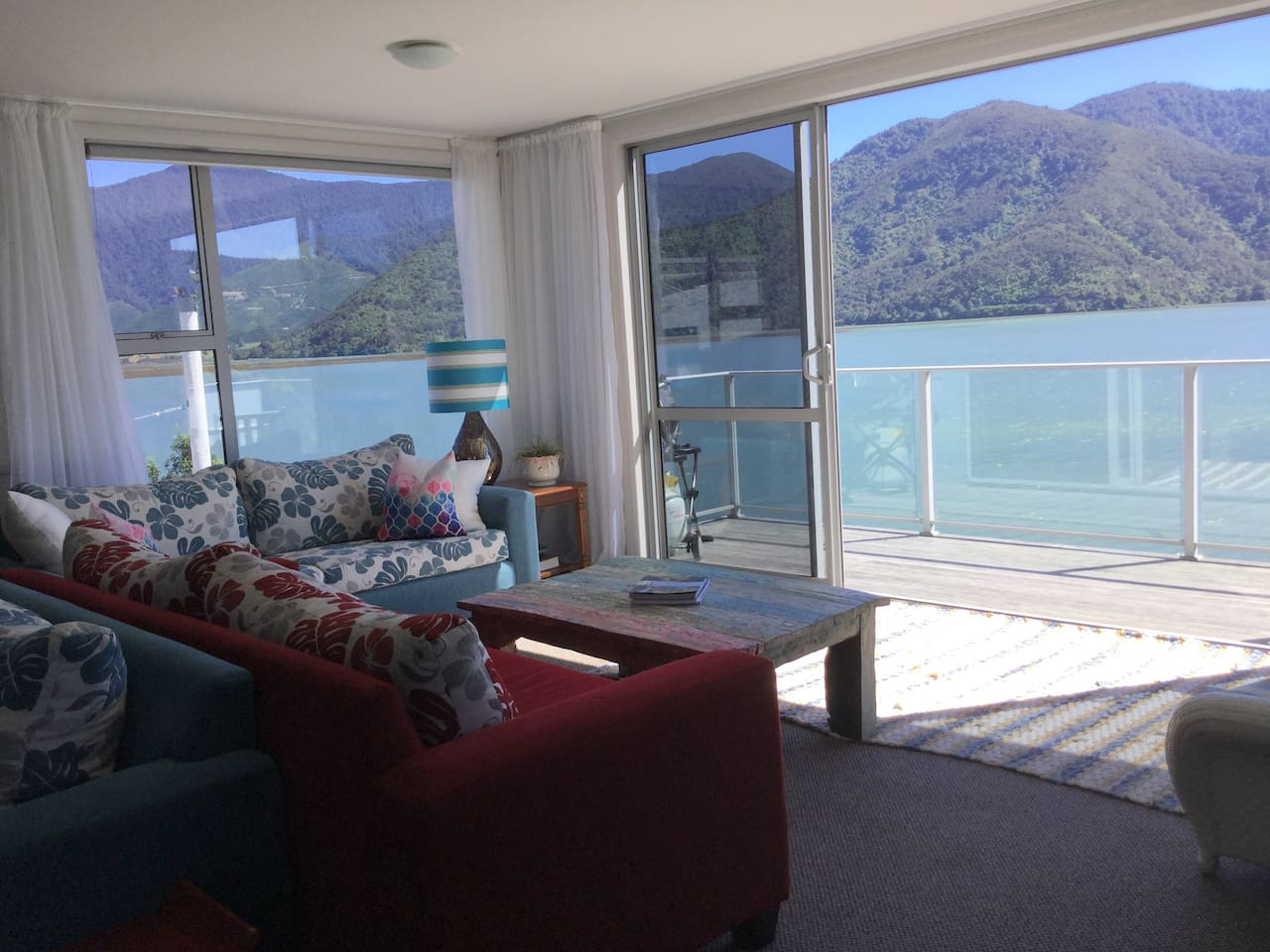 Views out to Pelorus Sound at high tide.