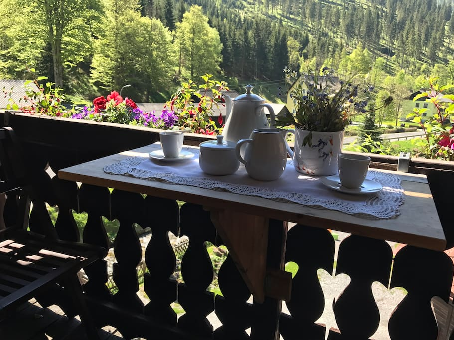 Relaxing coffee in the morning on the private balcony