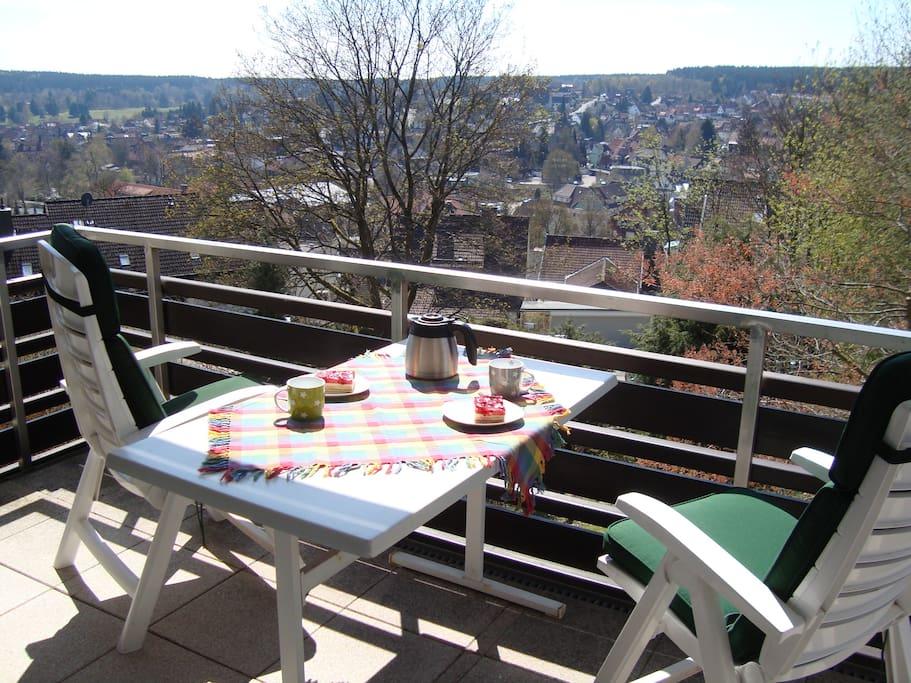 Blick vom Balkon über Braunlage