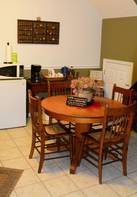 Your own private kitchen with refrigerator, microwave, coffee maker, tea, and snacks.
