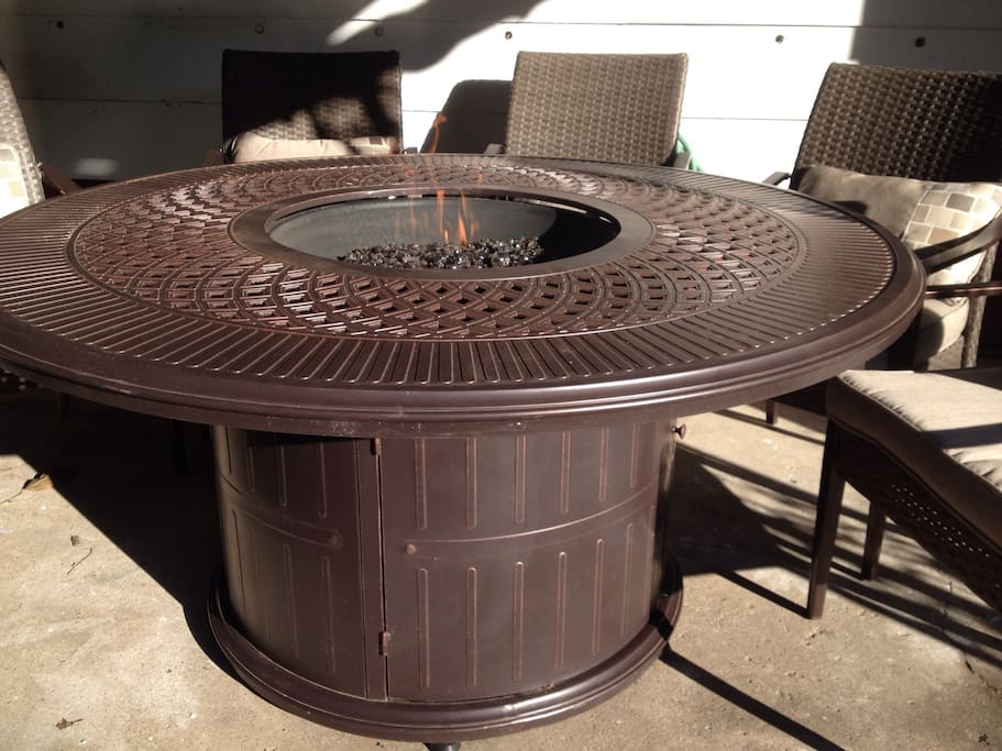 Outdoor dining table that doubles as adjustable warmth with propane flame for any chilly night.   You may want to be outside in the winter for the 1st time in s long time.                        *Propane provided for additional delivery fee of $45 or bring your own tank for free!