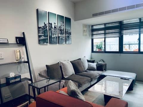Rumah Desainer Komunitas Minsheng/Gaya Industri Budaya & Pemuda/Ruang Tamu Besar - Gathering/6 Orang 3 Kamar - Private Retreat/Apartemen Lantai 3