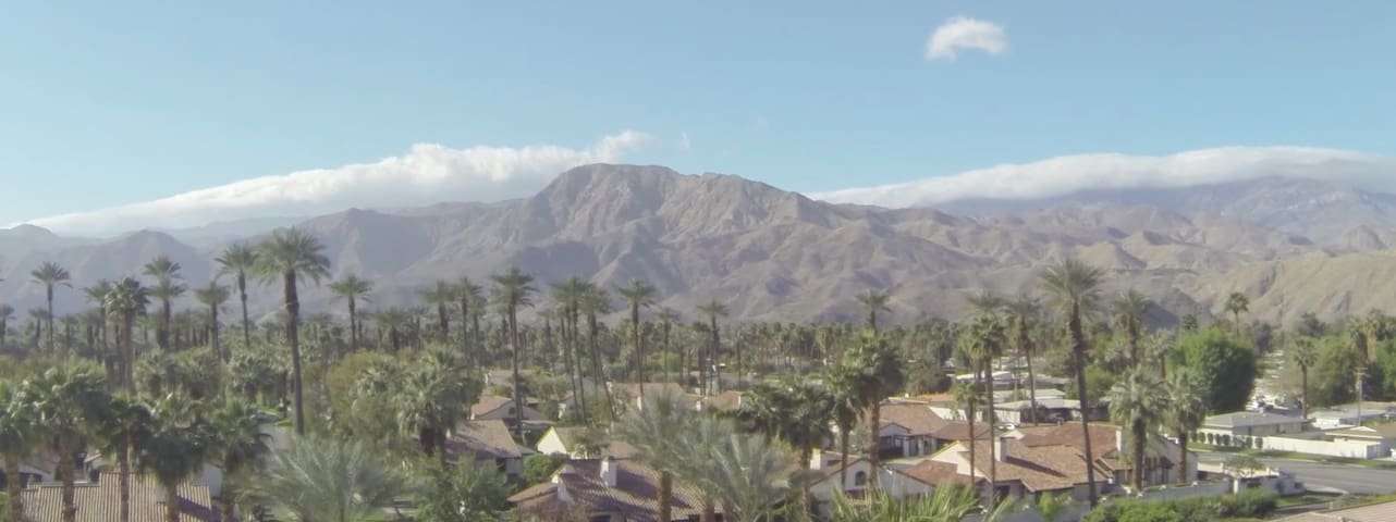 The stunning Coachella Mountain Range. This overhead view is looking south from the backyard.