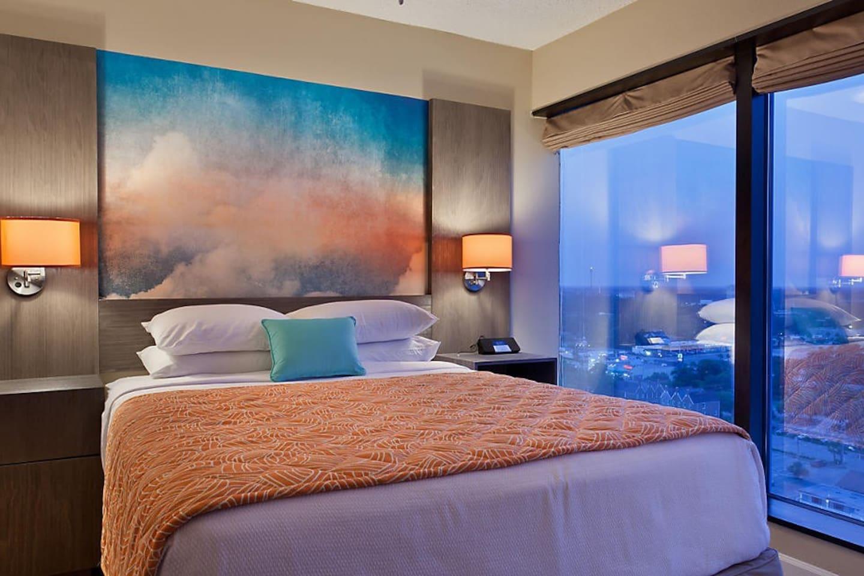 Comfortable master bedroom awaits! (Queen bed, view varies)