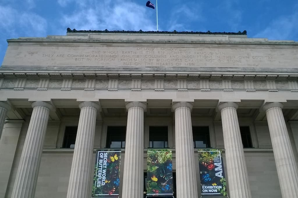 Auckland Museum, Auckland Domain, where you can view many treasures from across the world, attend Armistice Day commemorations, The Secret World of Butterflies, the long standing New Zealand Flag and take time out from the hustle & bustle