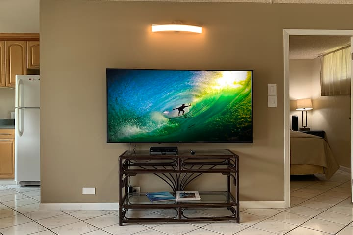 Large flat-screen TV features smart TV apps for streaming internet channels, plus Blu-ray player
