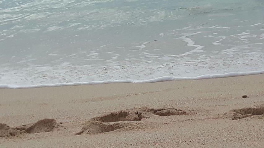 The pinkest sand just across the street!