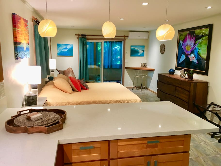 New quartz counter tops, cabinets, dresser, recessed and pendant lighting