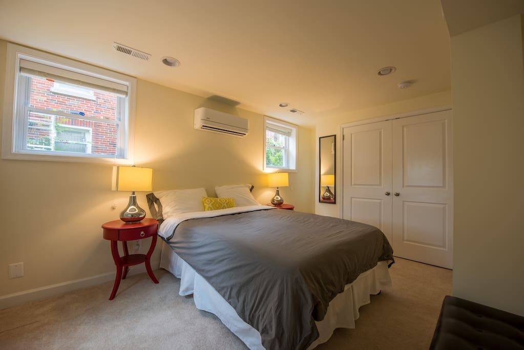 Separate bedroom with 3 windows, large closet and queen bed