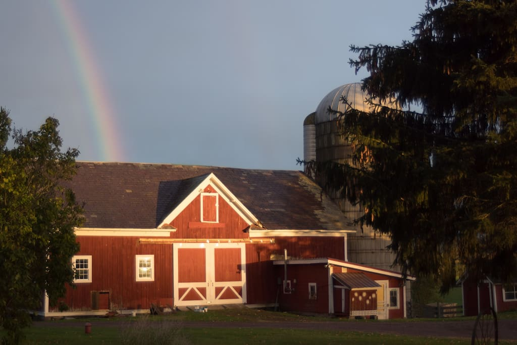 Rainbow over wedding barn