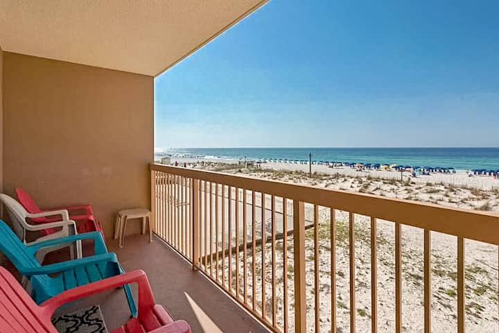 Second-floor, gulf-front condo w/ balcony, gulf view & shared pools/hot tub!