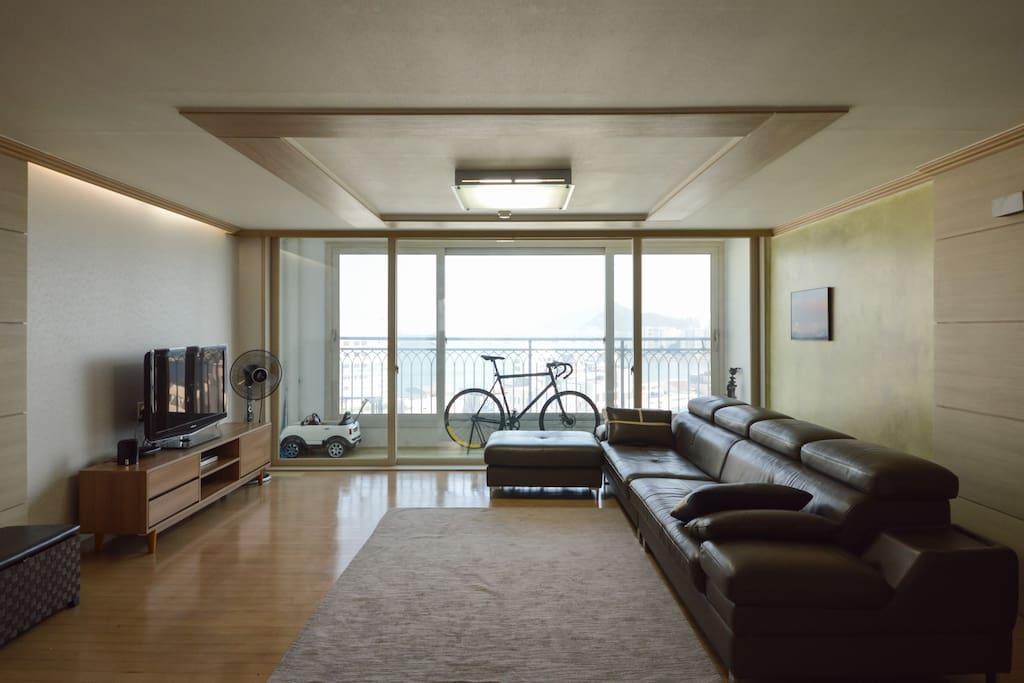 Living room with bridge and. Each view
