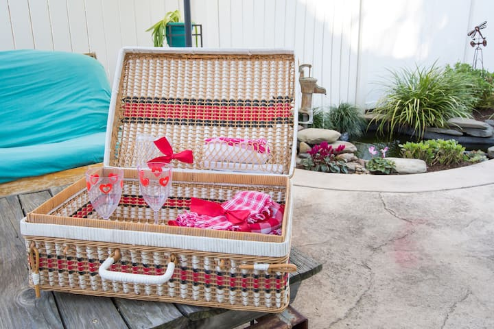 Picnic basket available to guests.