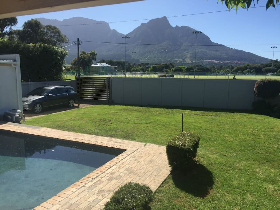 Back of house view (Table Mountain in background and inside parking 2)