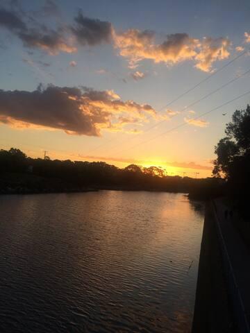 Walking along the river