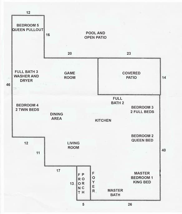 Floor plan of of home. 2400 square feet.