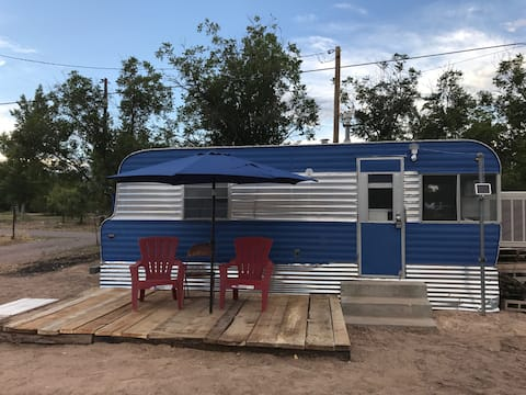 Vintage Blue Camper (Camping Experience)