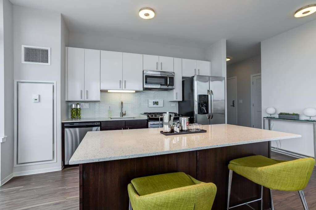 High-End, Open Concept Kitchen with all Stainless-Steel Appliances (Oven, Microwave, Stove, Dishwasher)