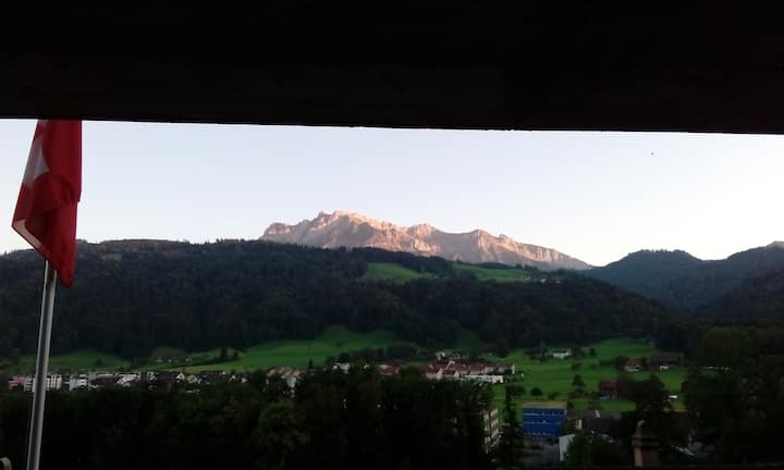 Private room, terrace view to Pilatus near Lucerne