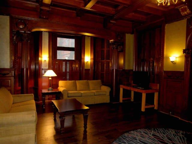 Living room all wood work handmade great atmosphere.
