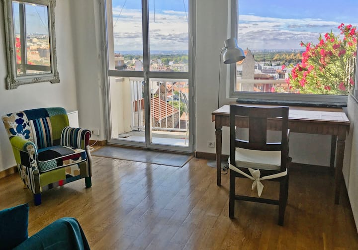 Panorama de Paris, studio dans grand loft