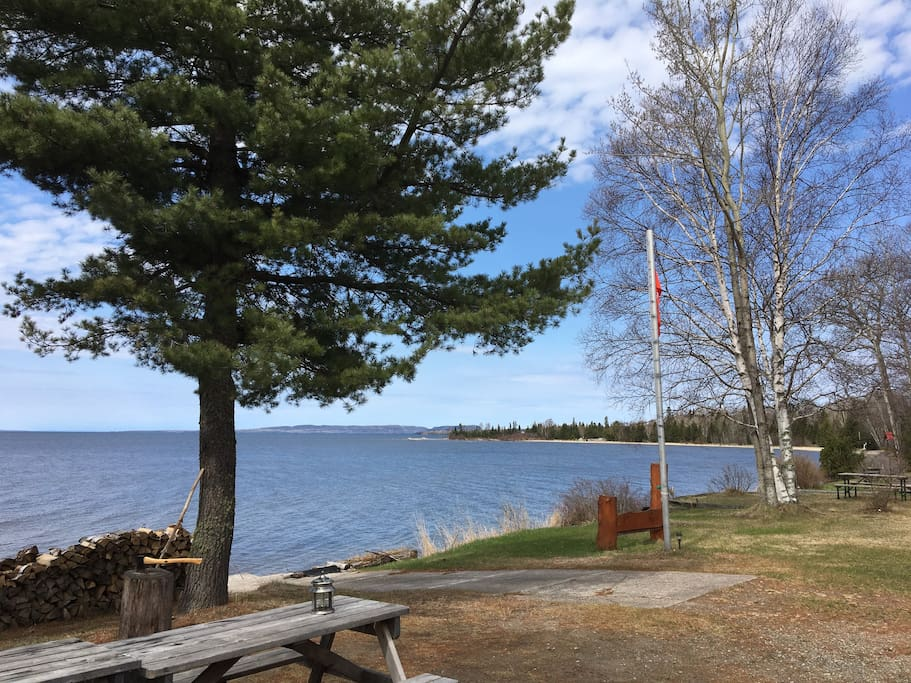 Beautiful Nipigon Bay on Lake Superior.  View from front of the property.