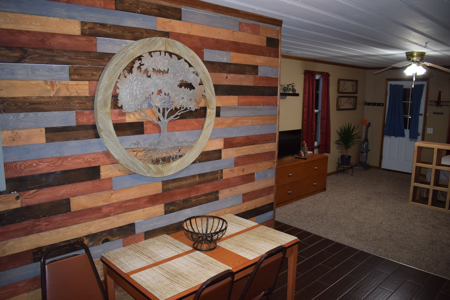 The Cabin is very modern and full of custom wood work a really nice and private stay!