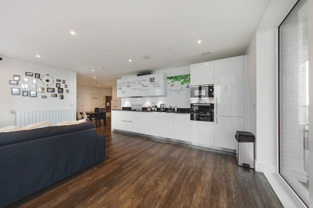 The open-plan kitchen and living area