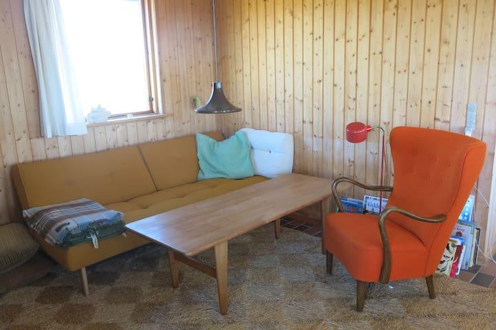Stue med sovesofa og brændeovn