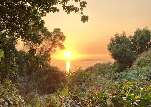 Jungleloft med fantastisk udsigt over solnedgangen