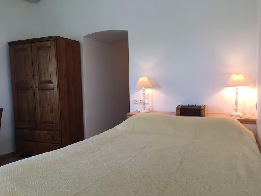 Bedroom with a build corner bed