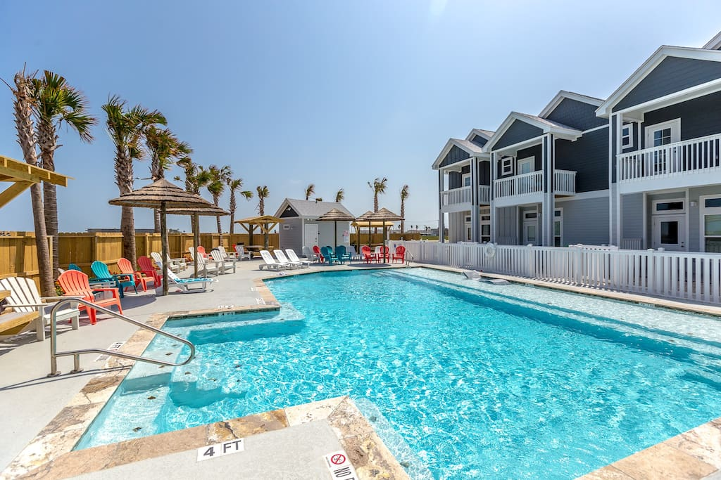 Sparkling, kid-friendly and surrounded by beach chairs for lounging!