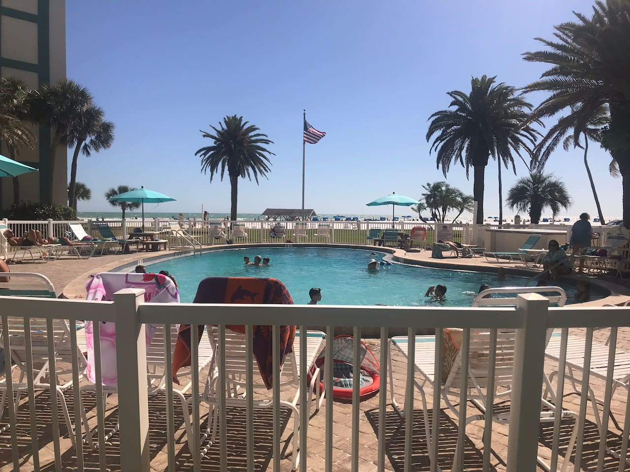 Pool is beach front
