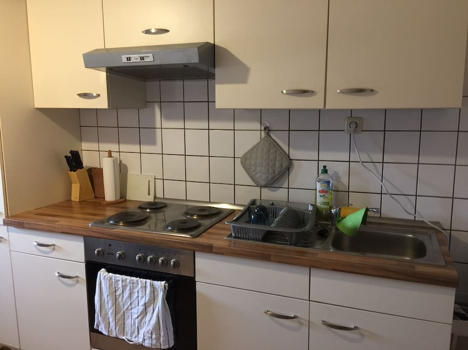 Die gemeinsame Küche ist komplett ausgestattet!