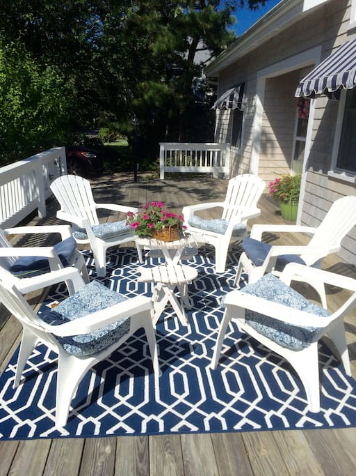 Front deck with Adirondack chairs for relaxing