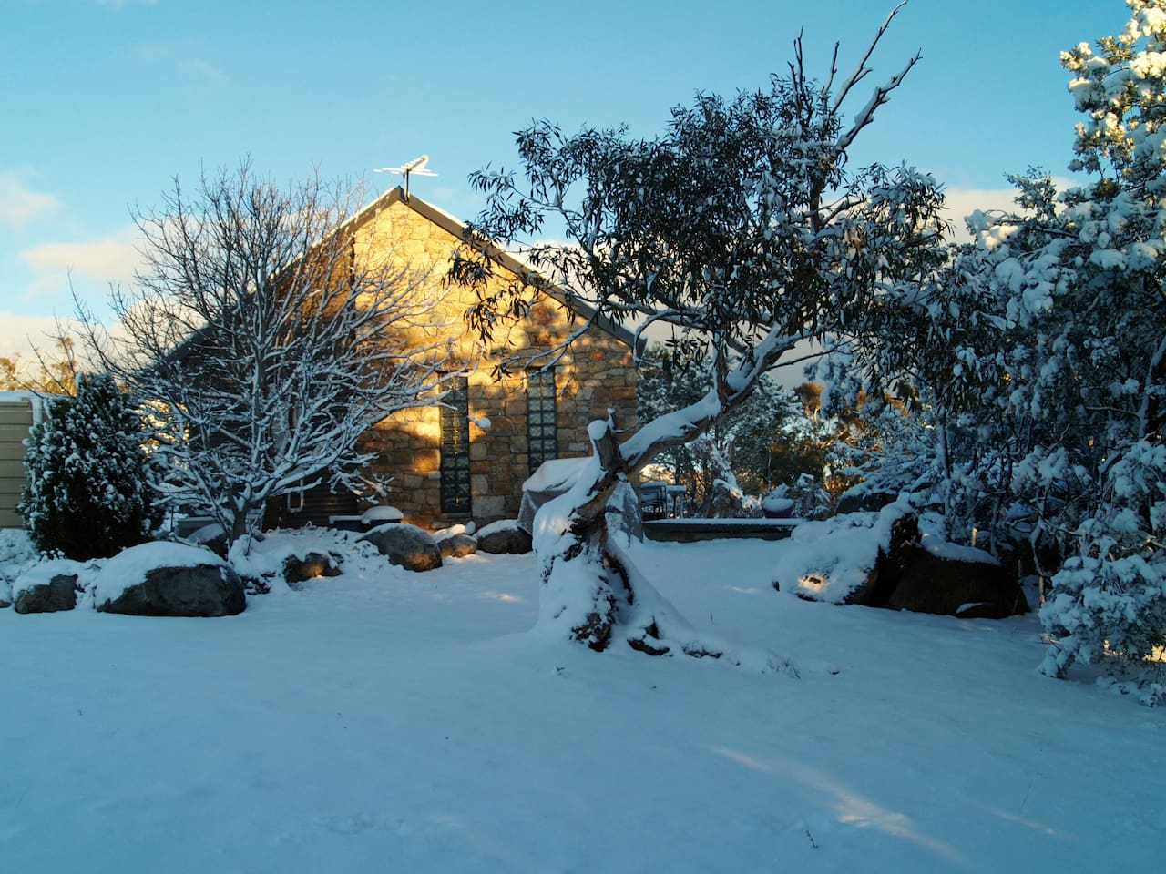 Cottage with occasional snow