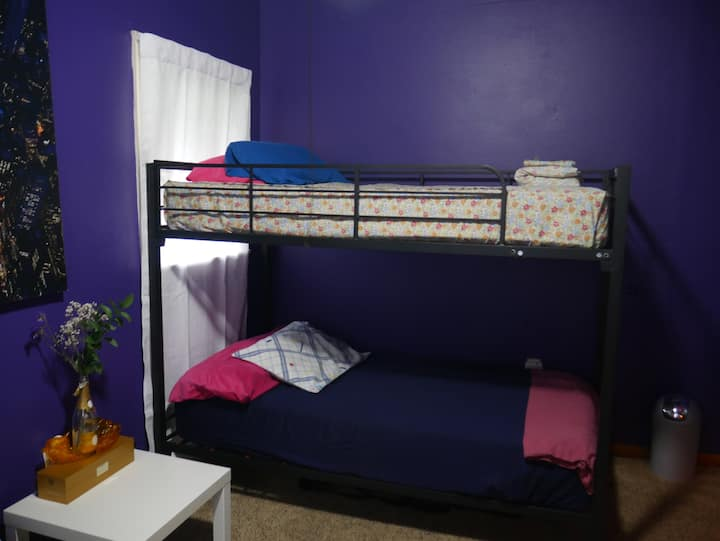 Private Purple Room w/ Bunk Beds.