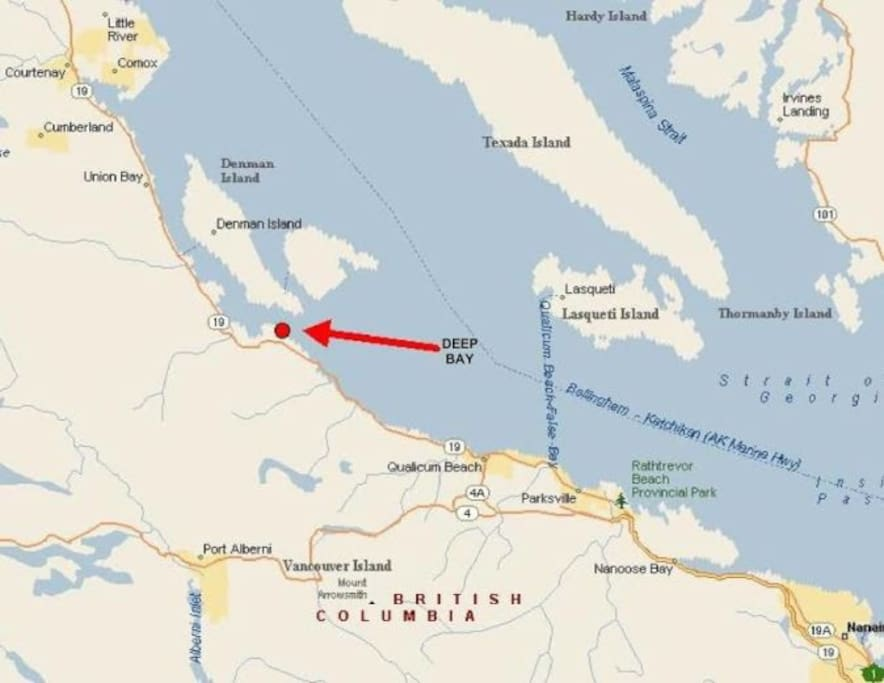 Google map of Deep Bay on Vancouver Island