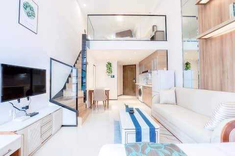 途寓·海岛DEW||海花岛二号岛|温馨私享Loft海景一室双床房|近商圈近海边
