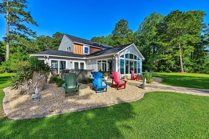Riverfront Blounts Creek Home w/ Dock & Beach!