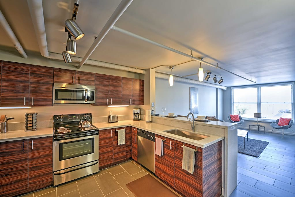 The condo's spacious open layout comes complete with all your comforts of home.