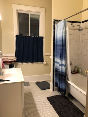 Large shared bathroom.  3/4 Second bathroom available too.