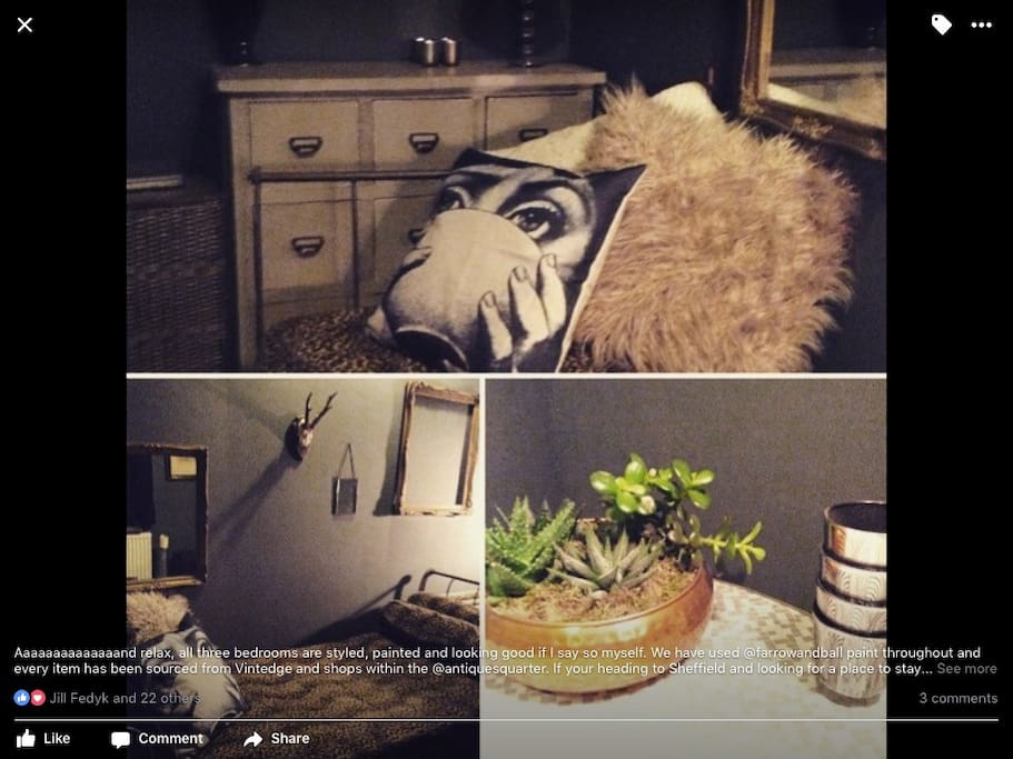 This is our cosy one bedroom room with a single antique cast iron bed / sofa with small table and chairs. All our vintage finds have been bought from the shops and markets in the Antiques Quarter.