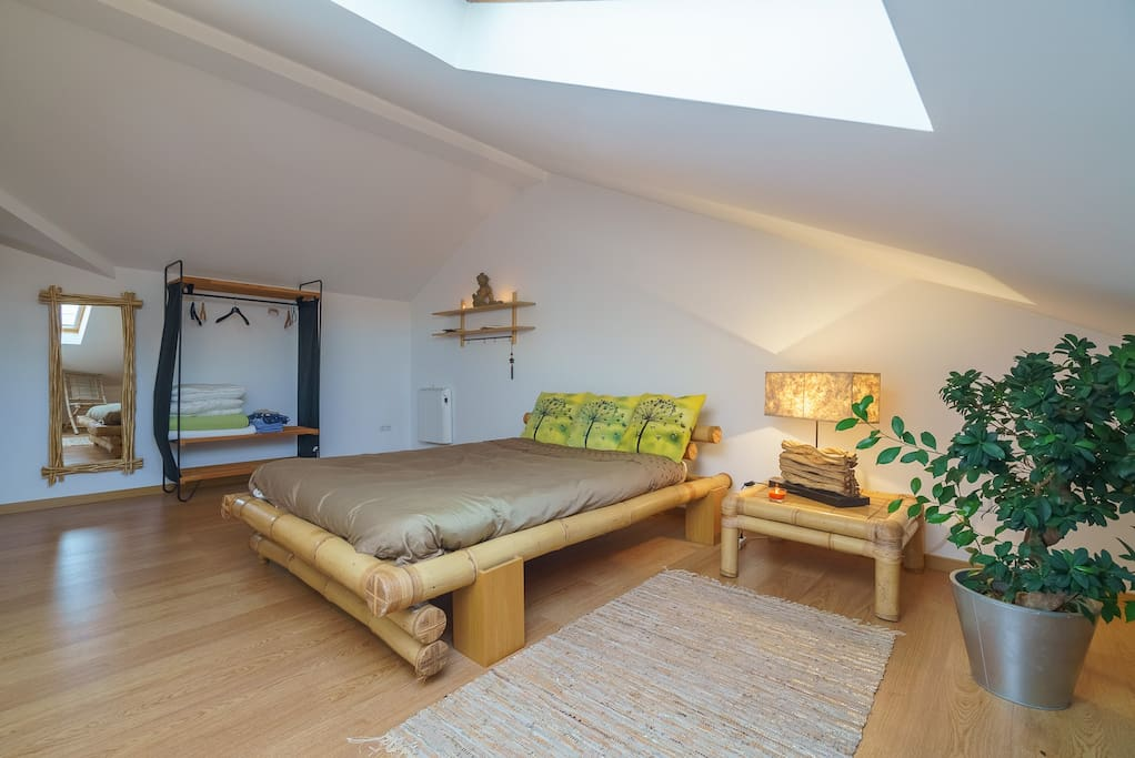 Very large bedroom with plenty of space and big comfortable bed.