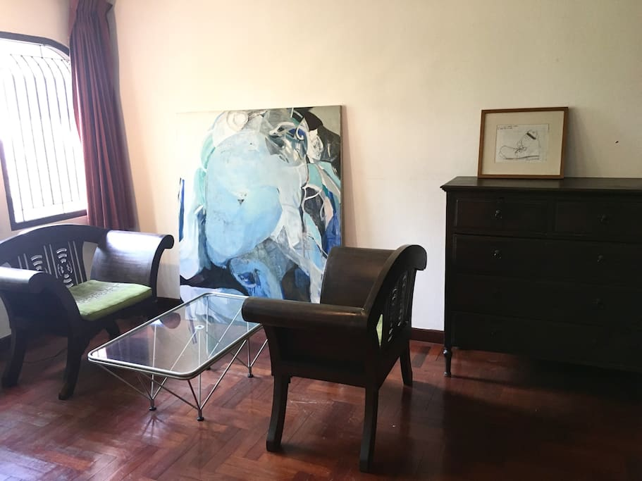 Relax area + large abstract oil painting inside room