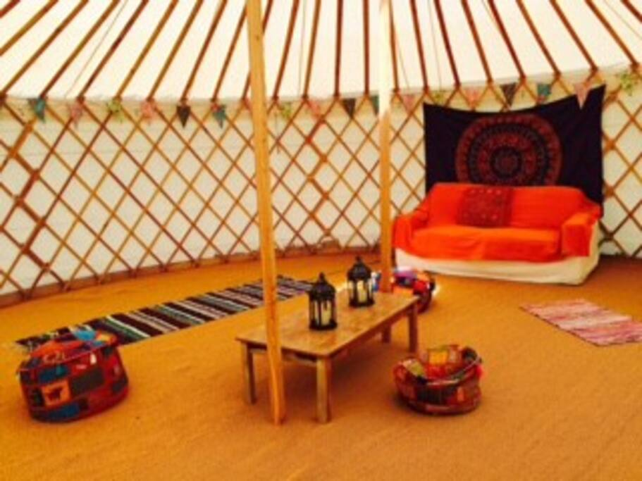 Inside one of the yurts