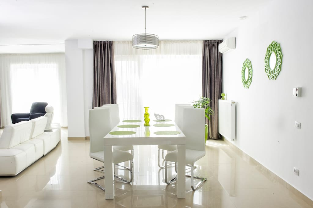 Living, dining area