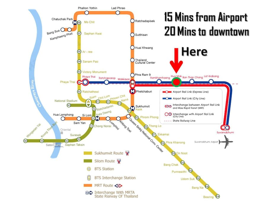 Bangkok Mass Rapid Transit System. The listing is located near Airport Rail Link - Huamak Station.