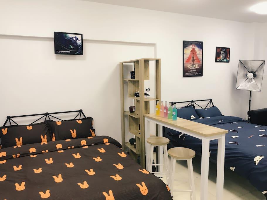 卧室配备两张1.5米双人床